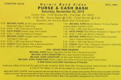 Norwin Band Aides Purse and Cash Bash